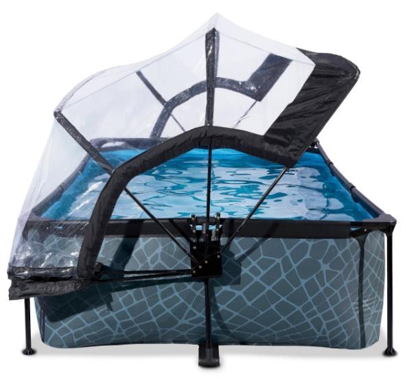 Donker klein opzetzwembadje met zwembadtent