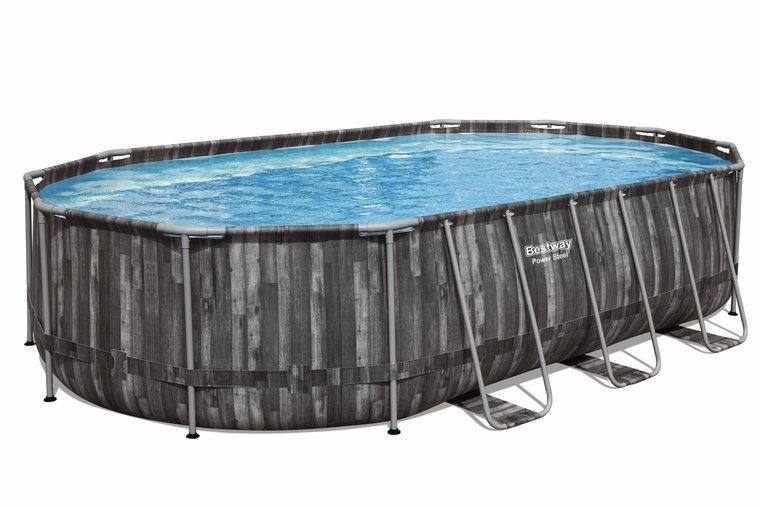 Donker opzetzwembad ovaal